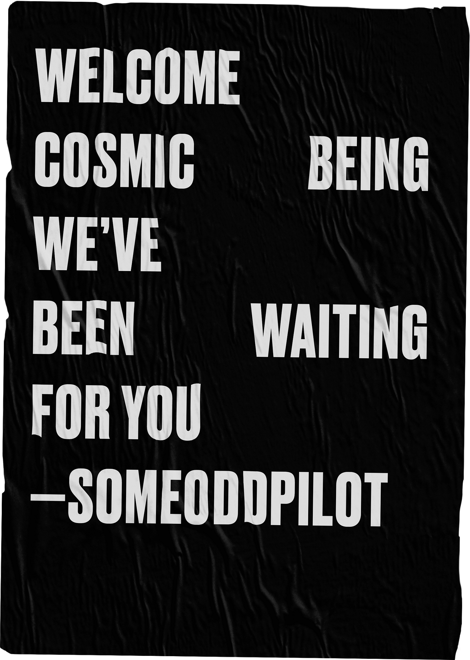 WELCOME COSMIC BEING WE'VE BEEN WAITING FOR YOU --SOMEODDPILOT