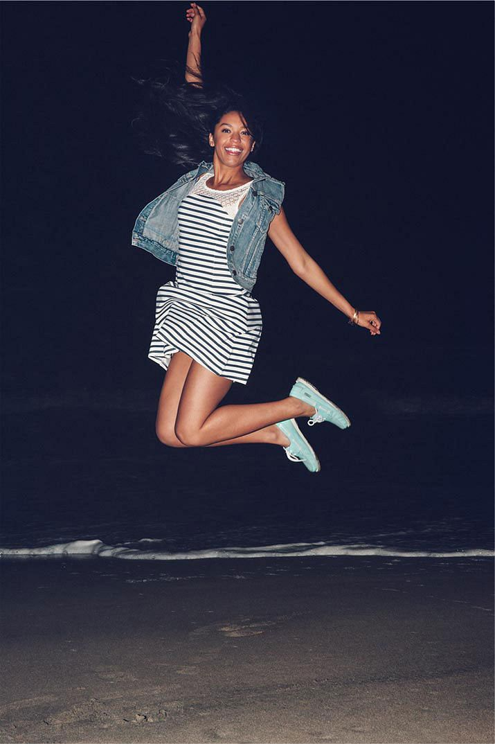Sebago Model Jumping on Beach