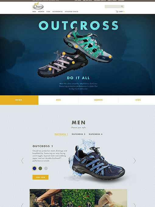 Chaco Outcross line feature page, designed by Someoddpilot