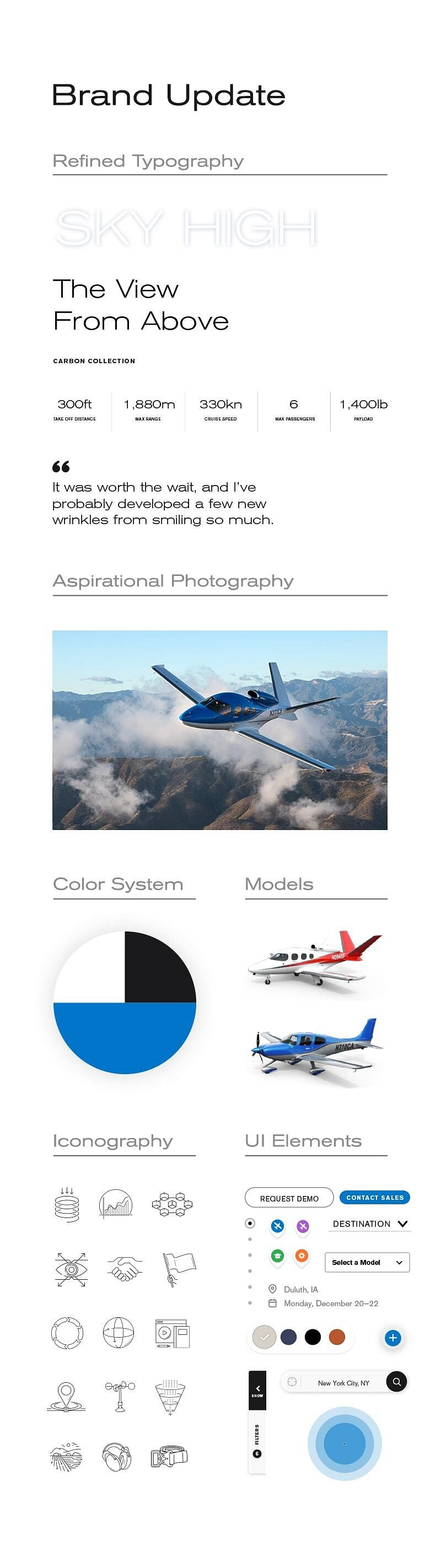 Examples from the Cirrus Brand Update, including new typography, iconography, UI elements, photography, and color systems.