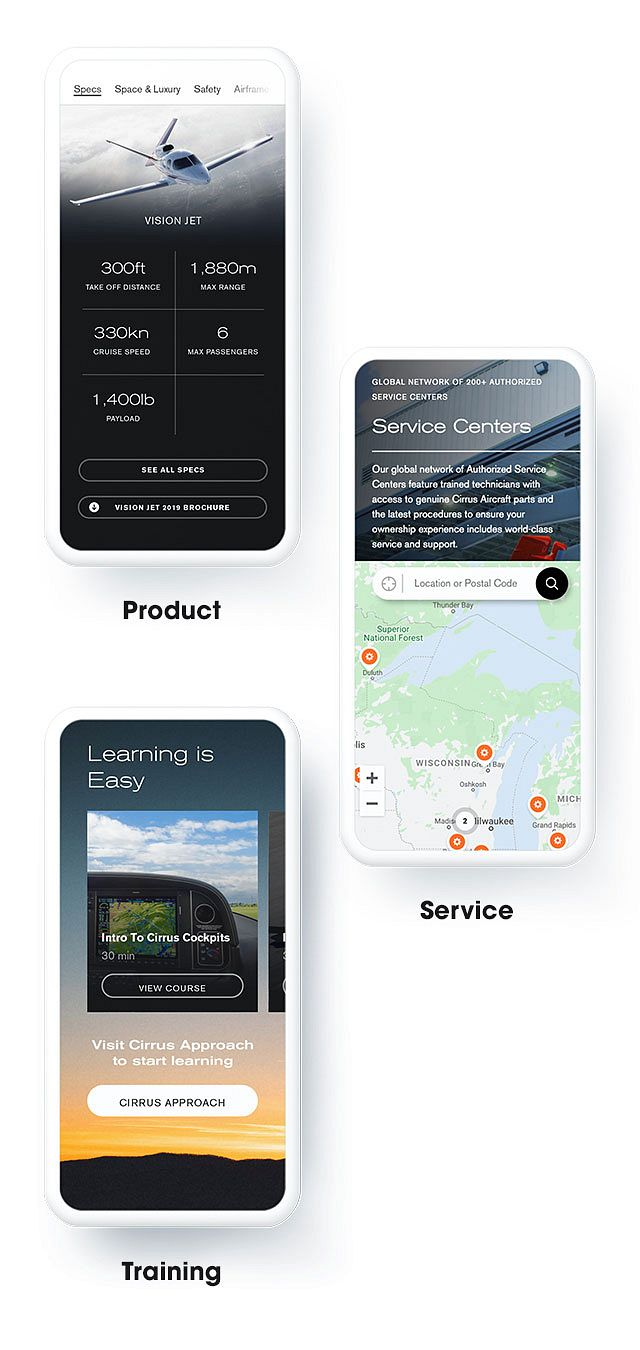 Three mobile screens showcase the Cirrus site's 3 main features: Products, Service, & Training