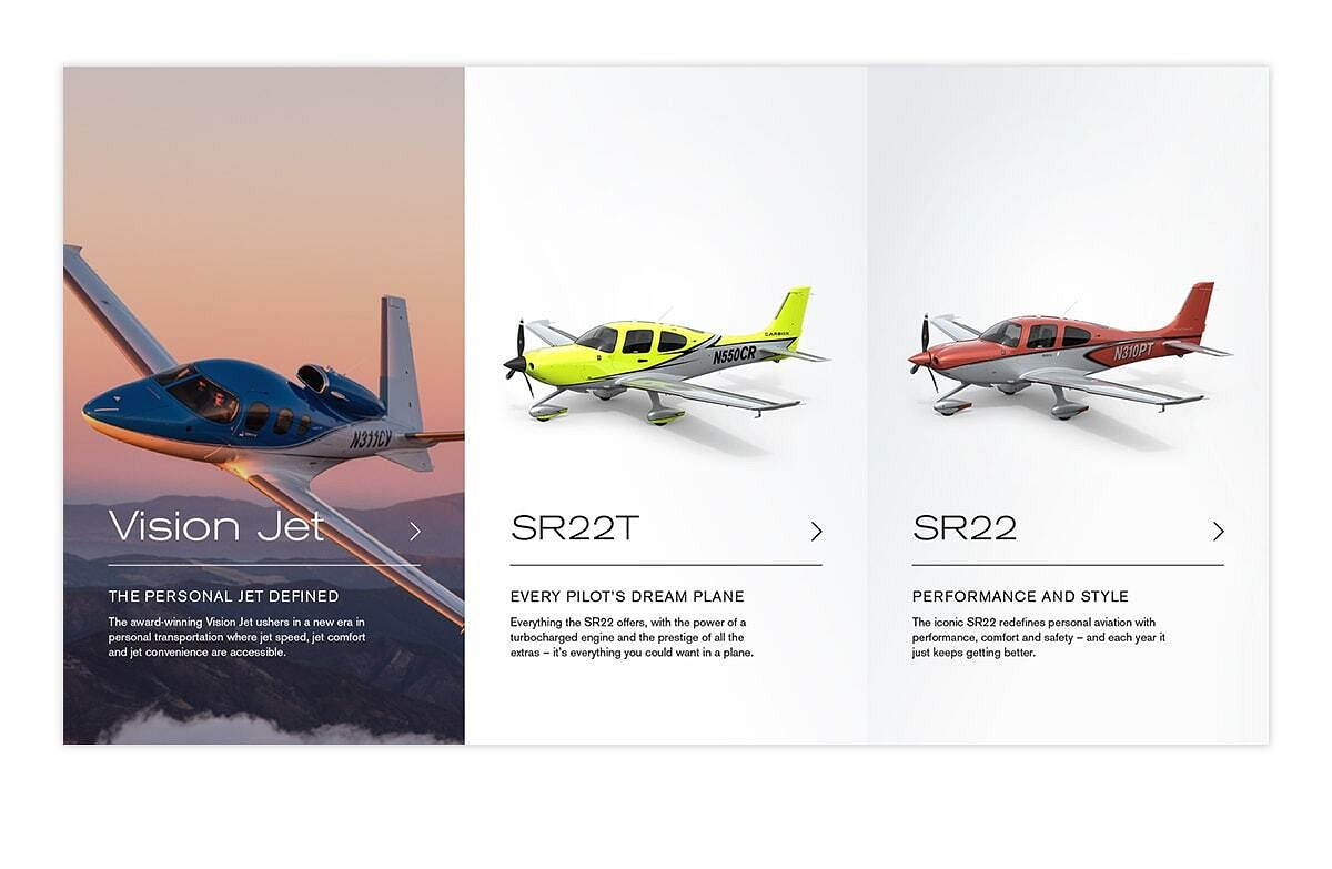 A screen capture from the aircraft landing page features Cirrus Vision Jet, SR22T, & SR22