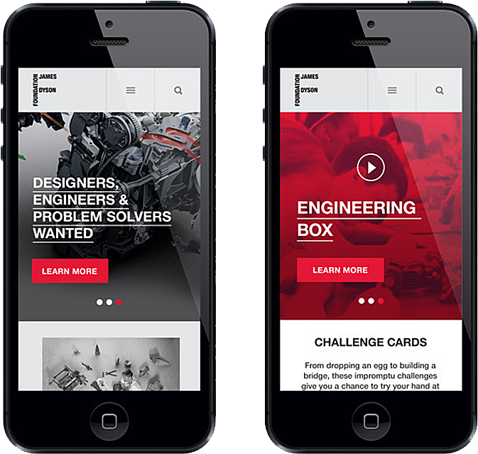 James Dyson Foundation Site on Mobile