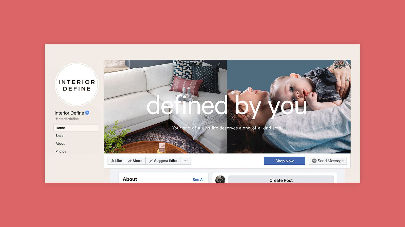 "Facebook header for Interior Define's page, featuring a sectional and a mom & baby. The text reads, ""defined by you""."
