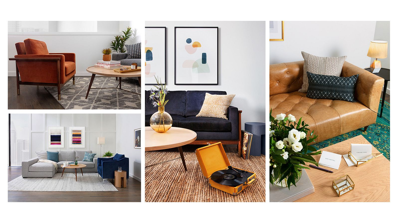 Composite image of product photography. Four.Unique living room setups are defined by accents of character.