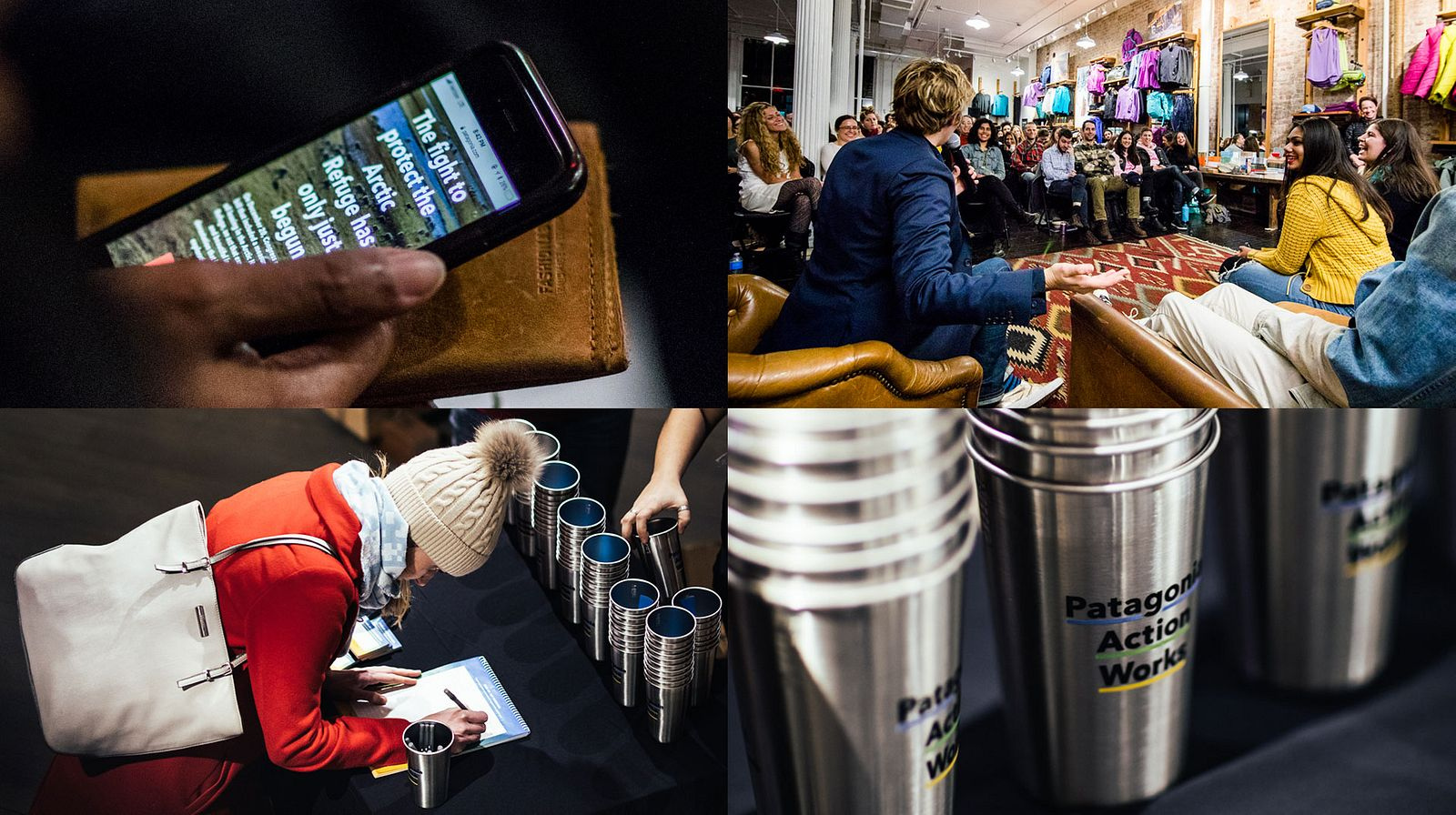 Four photographs of people assembled in Patagonia stores, a person on the Patagonia Action Works site on a phone, and branded stainless steel cups.