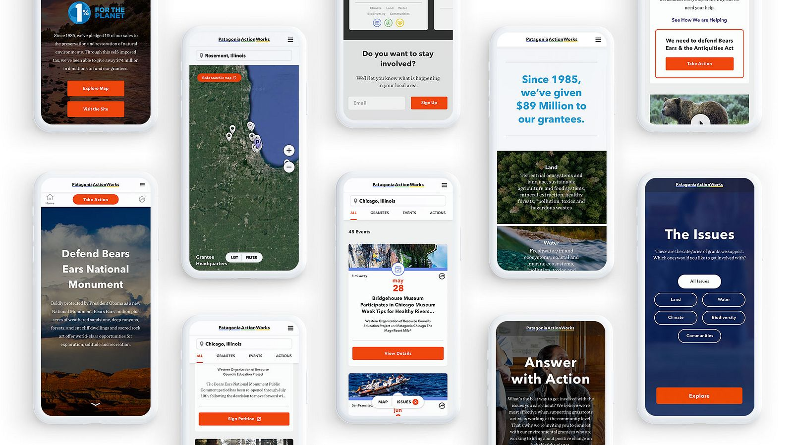Several Patagonia Action Works site screens on Apple phones