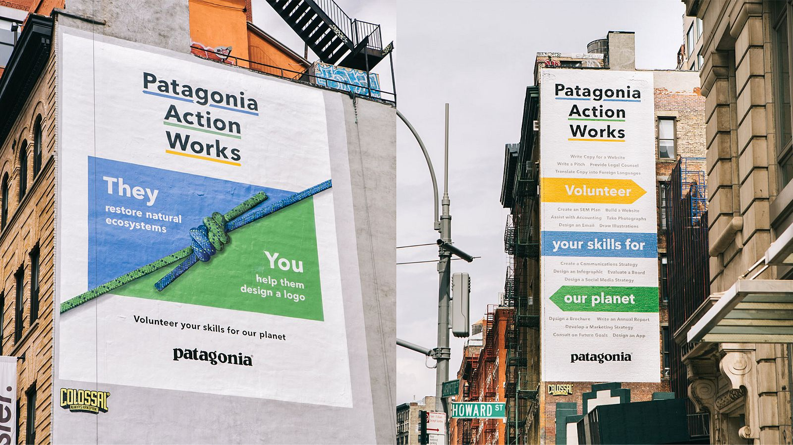 "Large painted murals on the sides of buildings with the Patagonia Action Works logo and highlighted slogans, like ""Volunteer your skills for our planet."""
