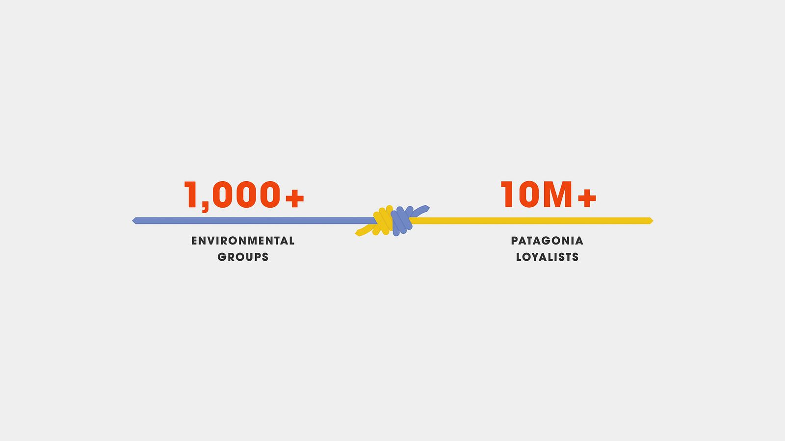 Text reading &ldqou;More than 1000 environmental groups&rdqou; connected to &ldqou;more than 10 million Patagonia loyalists&rdqou; with a knot graphic.