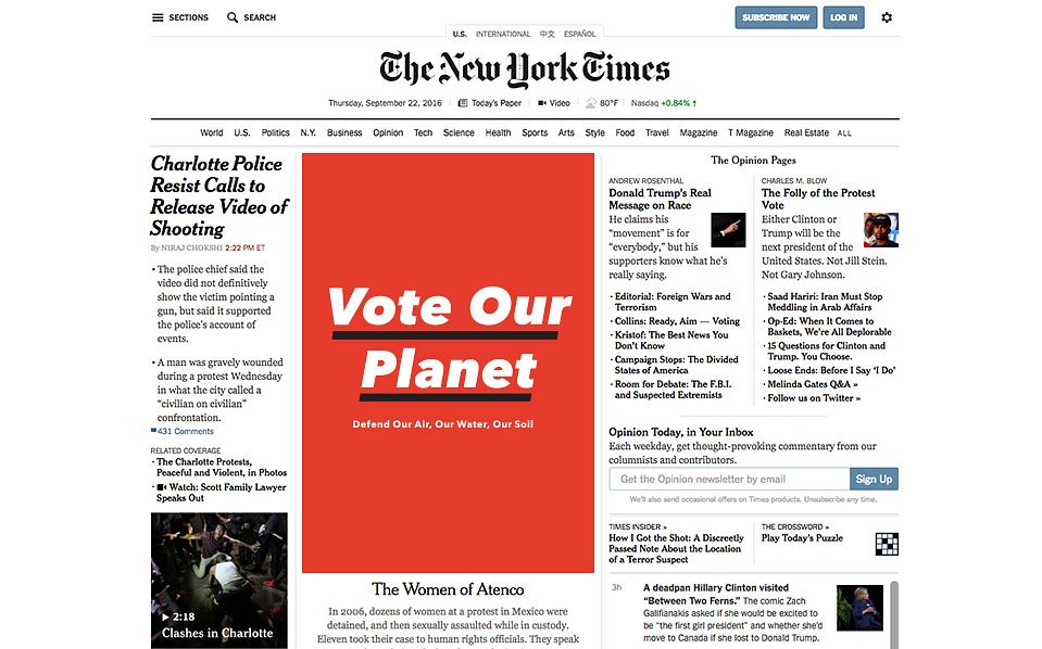 Vote Our Planet on The New York Times