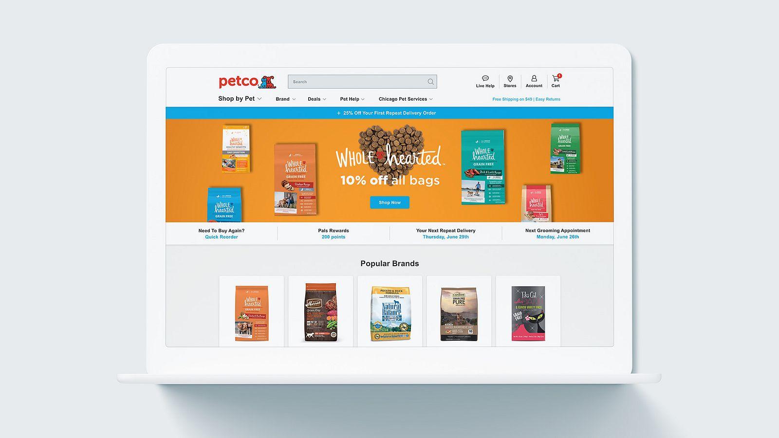 Petco website on laptop