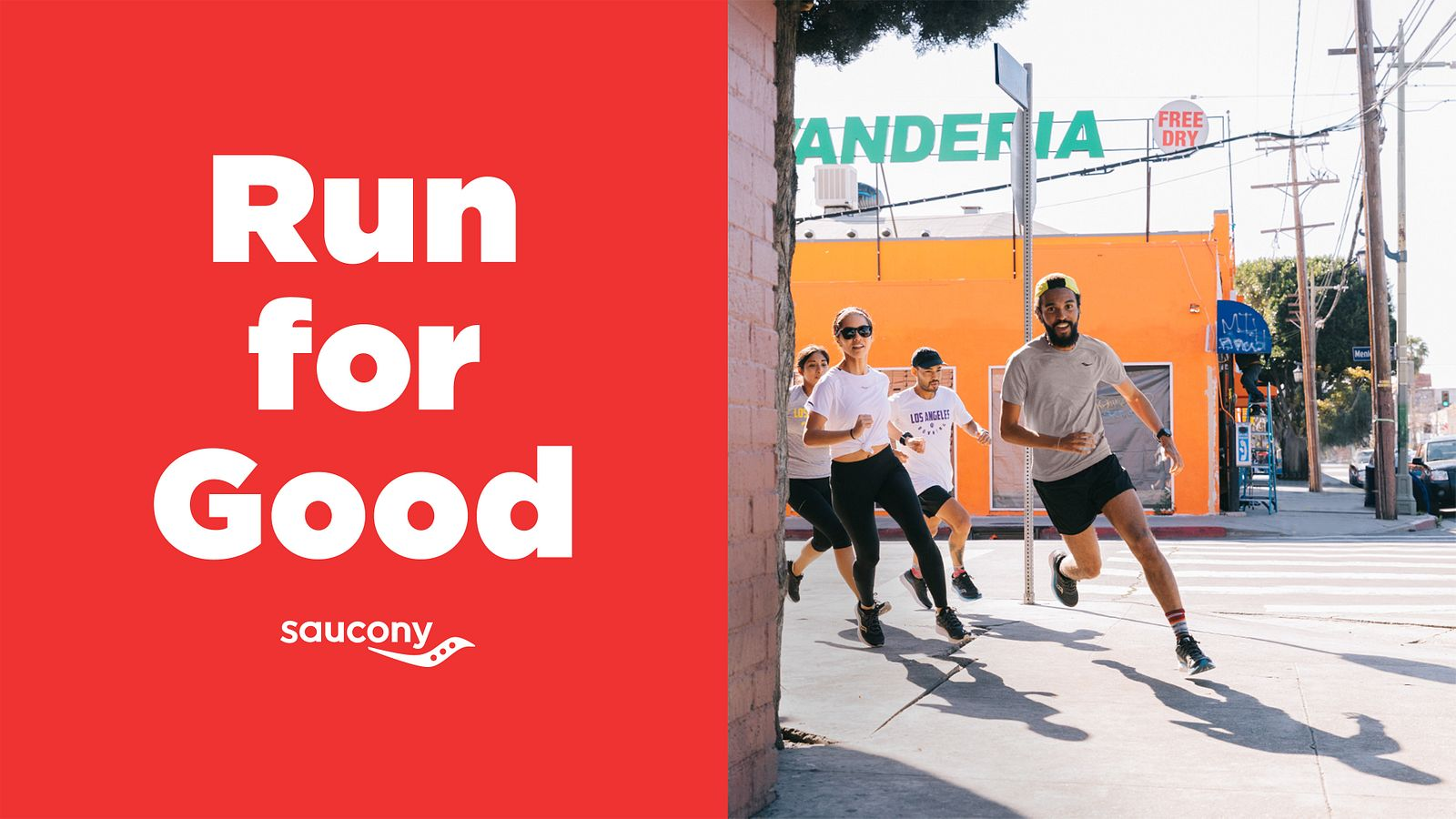 Right half: Run for Good & Saucony logo lock up. Left half: A running group rounds the corner of a building against an city background.