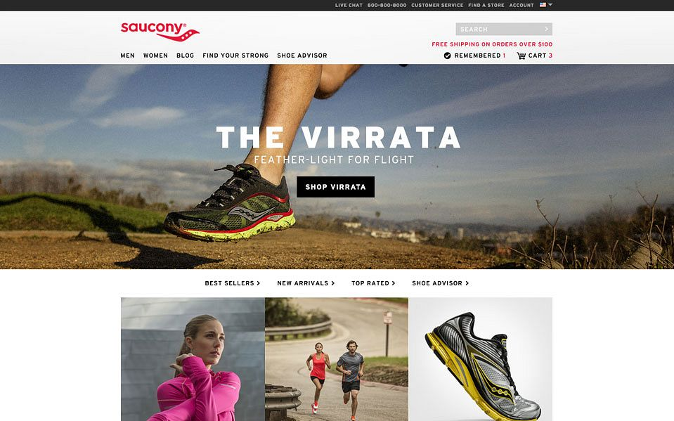 Saucony's website featuring the Virrata shoe, designed by Someoddpilot