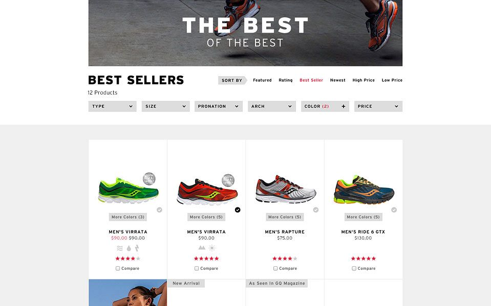 Saucony's website featuring products, optimized for ecommerce messaging by Someoddpilot