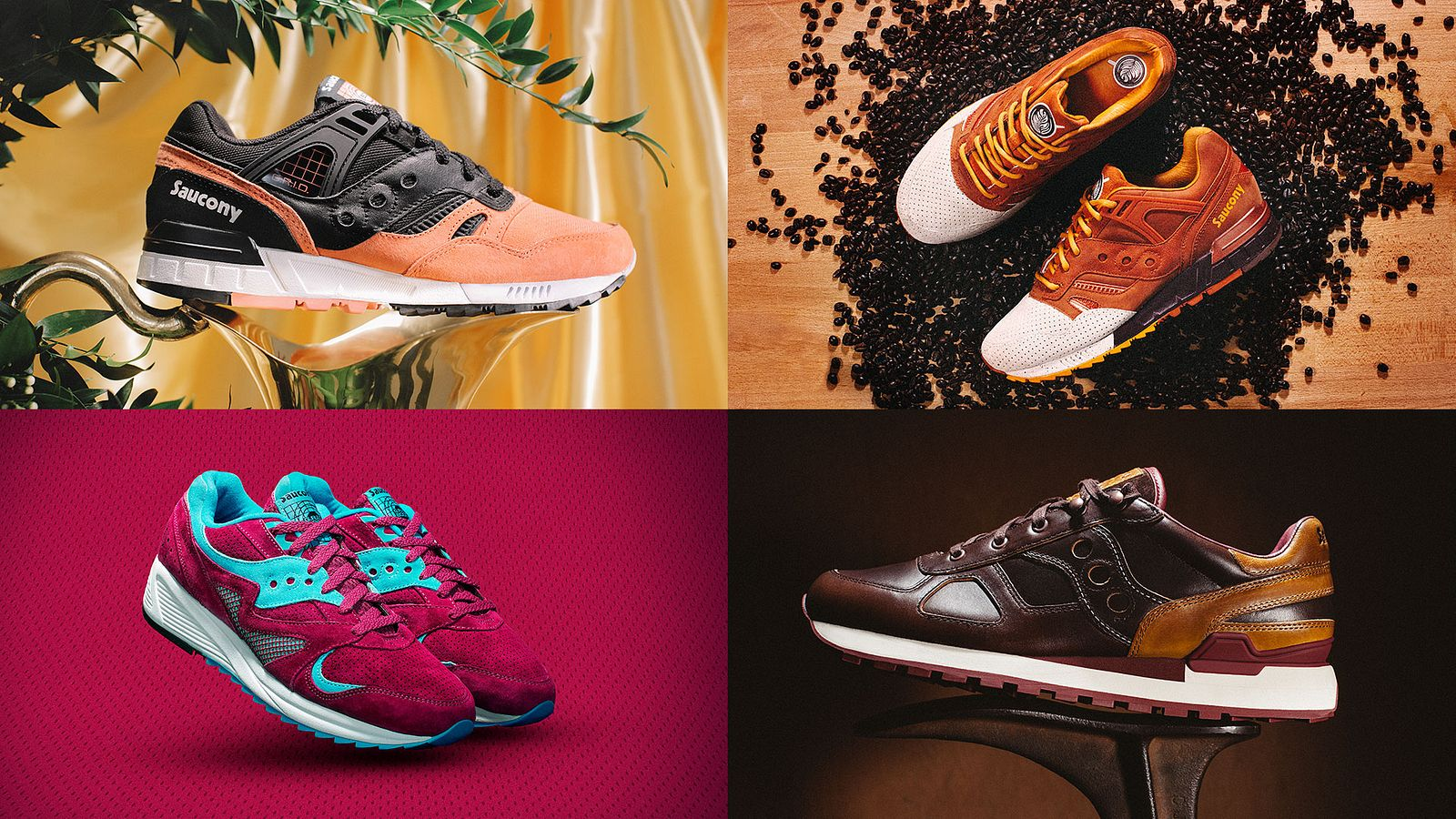 Shoe mosaic – Jersey, Derby, Pumpkin Spice for Saucony Originals, styled by Someoddpilot