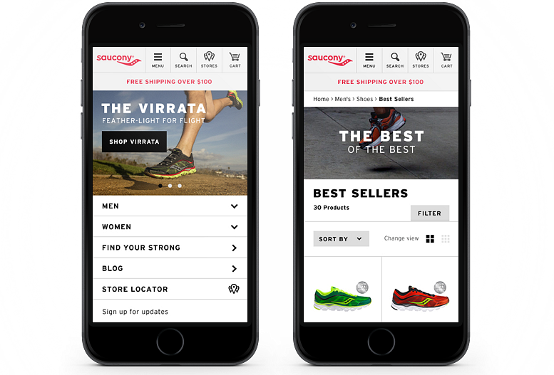Saucony Homepage Mobile