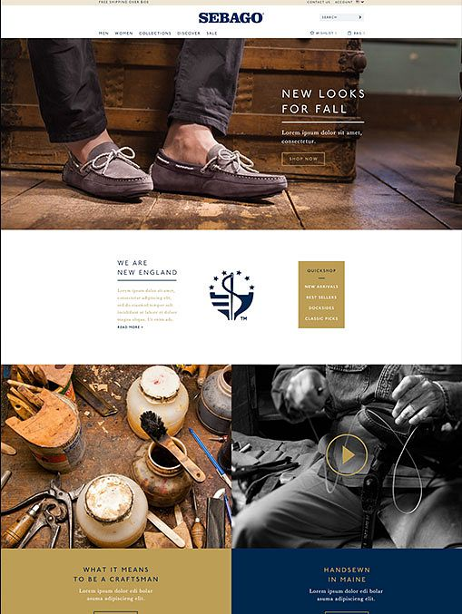 Sebago product feature page, designed by Someoddpilot