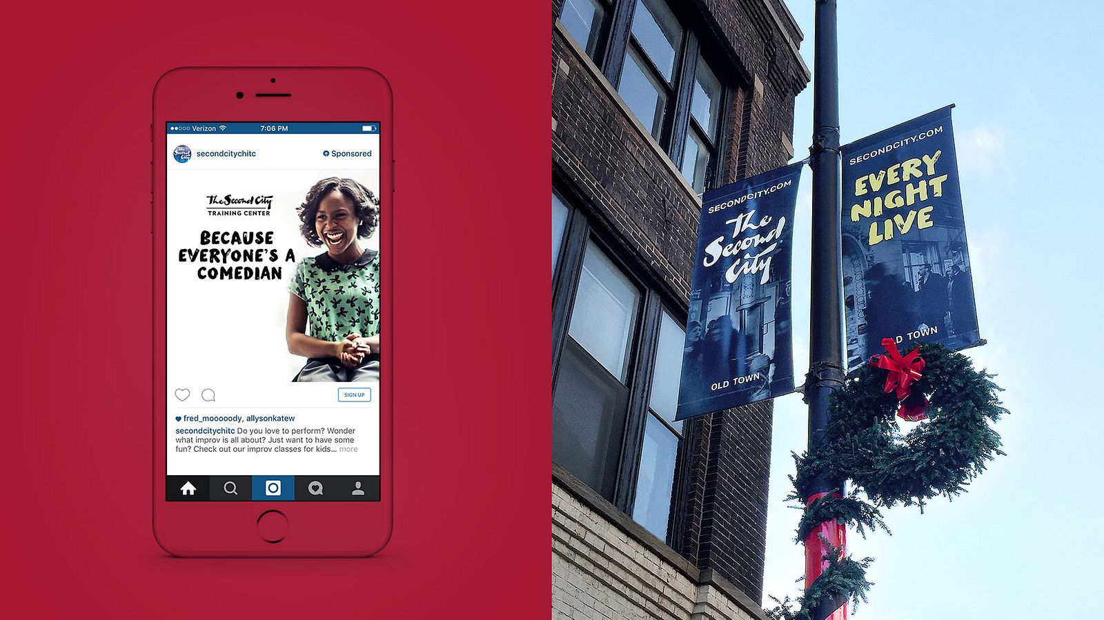 Second City social and OOH advertising, branding by Someoddpilot