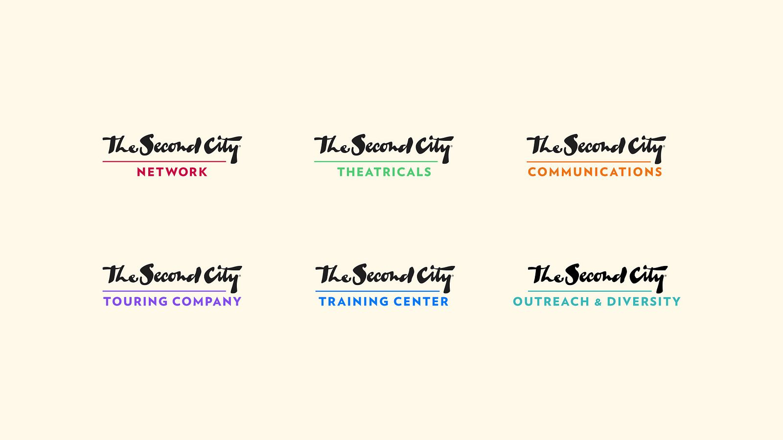 The Second City logos and sub-brands, designed and organized by Someoddpilot