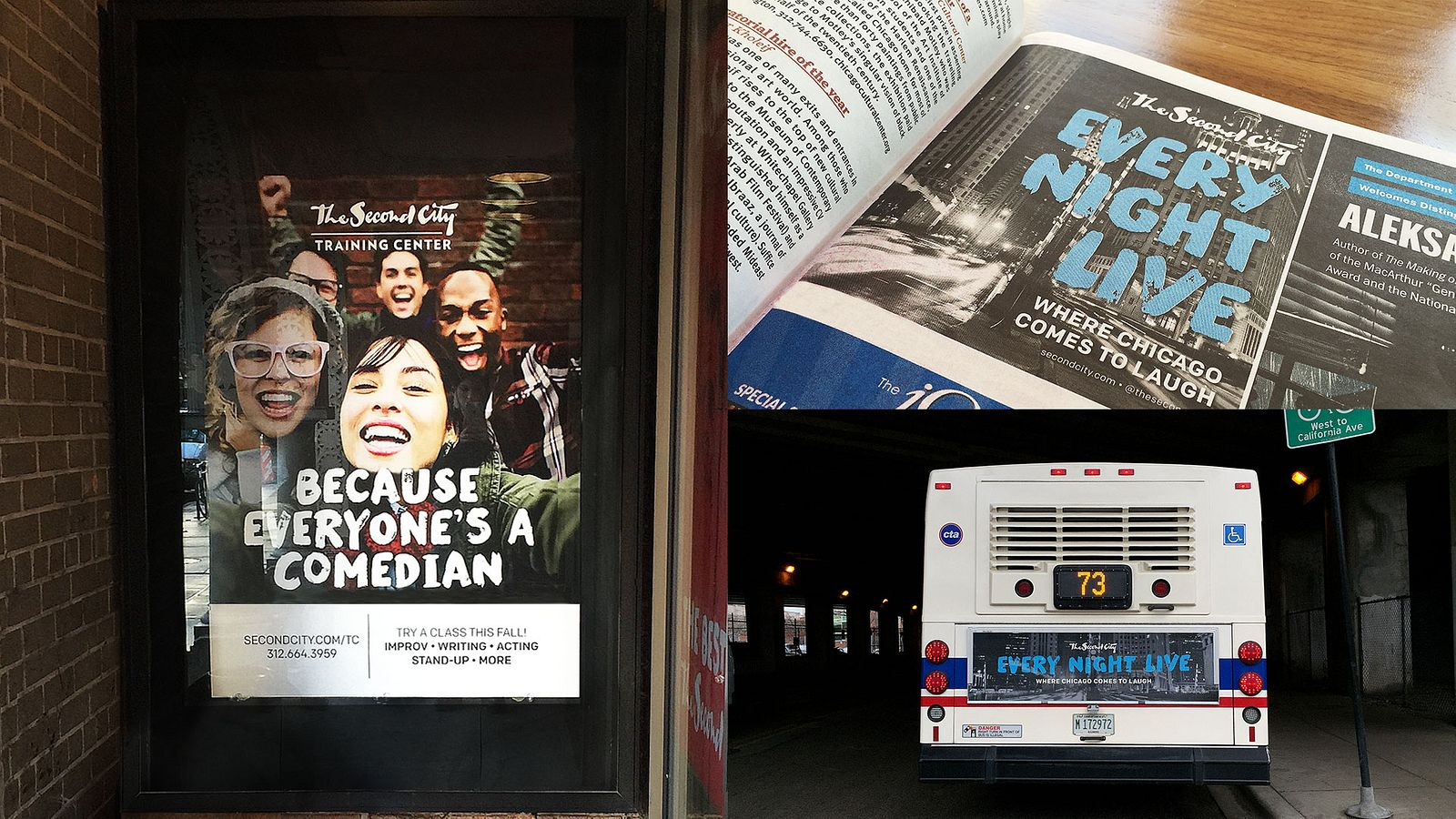 Second City OOH advertising, branding by Someoddpilot